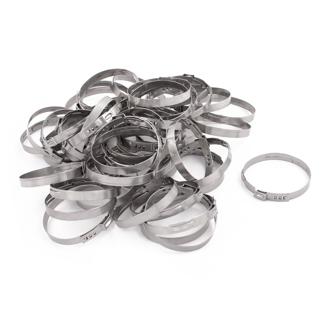 uxcell 48.8mm-52mm 304 Stainless Steel Adjustable Tube Hose Clamps Silver Tone 50pcs