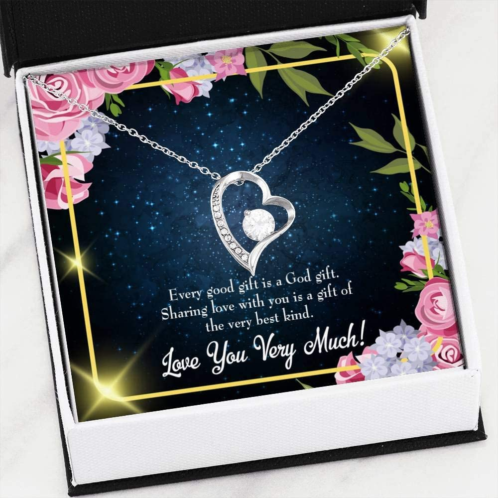 Gift for Wife Every Good Gift Forever Love Necklace-CZ Heart Pendant Stainless Steel or 18k Gold