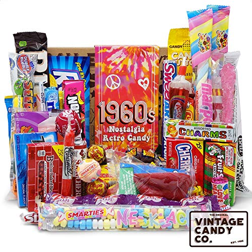 VINTAGE CANDY CO. 1960's RETRO CANDY GIFT BOX - 60s Nostalgia Candies - Flashback SIXTIES Fun Gag Gift Basket - PERFECT '60s Candies For Adults, College Students, Men or Women, Kids, Teens (Retro Candy Box)