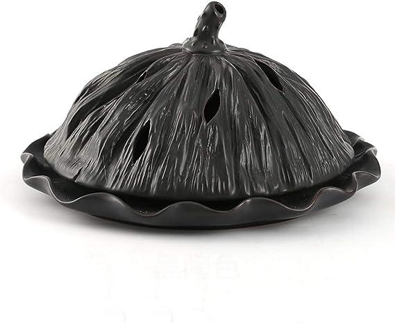 芳香器・アロマバーナー セラミック屋内香炉サンダルウッド世帯日本のお香は、大型ディスク香炉スタンド アロマバーナー芳香器 (Color : Black)