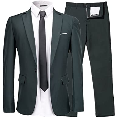 Men's 2-Piece Suit One Button Single Breasted Slim Fit Dress Suit ...
