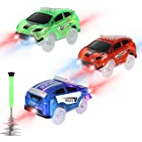 Tracks Cars Replacement only, Toy Cars forMost Tracks Glow in The Dark, Racing Car Track Accessories with 5 Flashing LED Lig