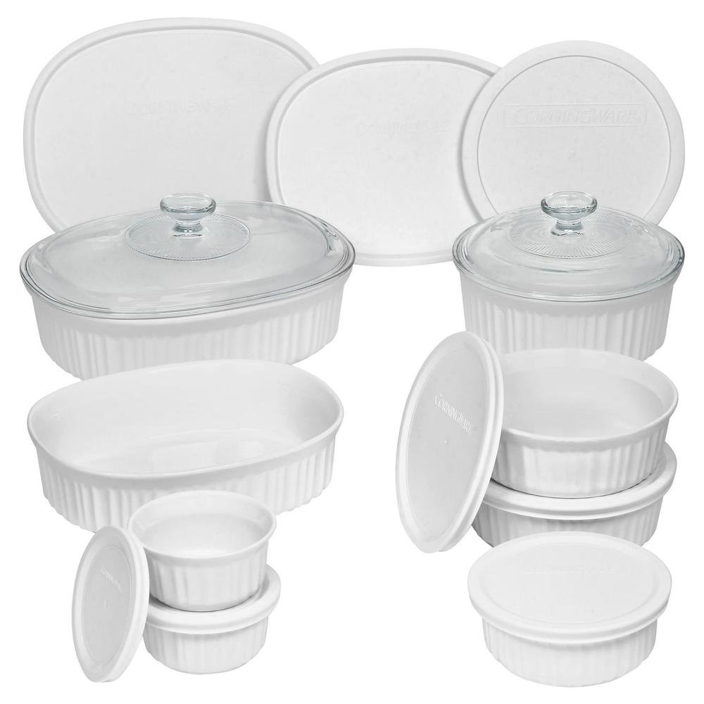 Durable Non-Porous French White 18 Piece Ceramic Made and Oven and Microwave Safe Bakeware Set with Lid by CorningWare