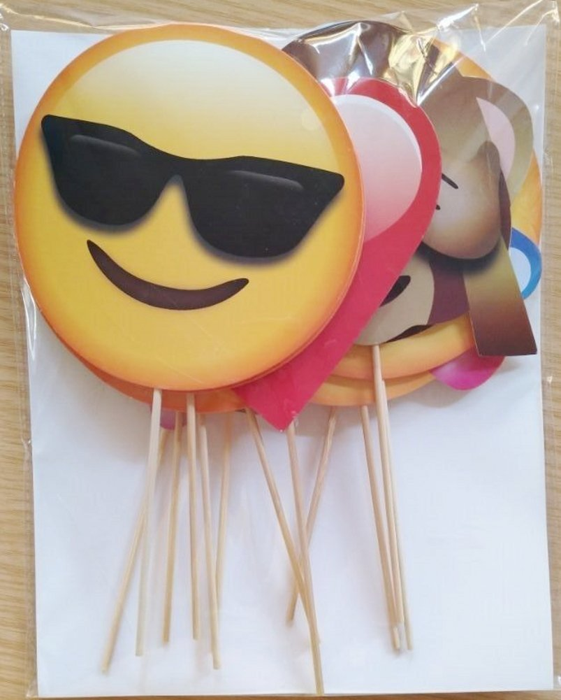 Party Favors for Wedding Hen Party Birthday Baby Shower Kids Party Christmas New Year CHSYOO 12x Paper Party Supplies Emoji Photo Ornaments Photo Panel Photo Booth Props