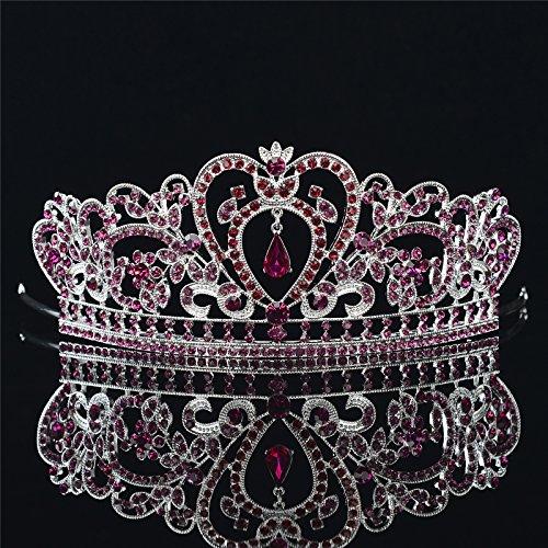 Remedios Rhinestone Purple Wedding Tiara Quinceanera Headpiece Birthday Princess Prom (Purple Rhinestone Crown)