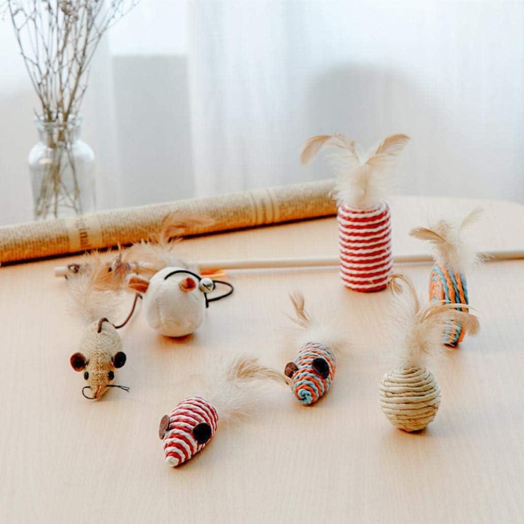 Uticon Pet Toy Set,7Pcs Cat Feather False Mouse Stick Teaser Wand Ball Pet Chewing Sisal Toy Set Random Color