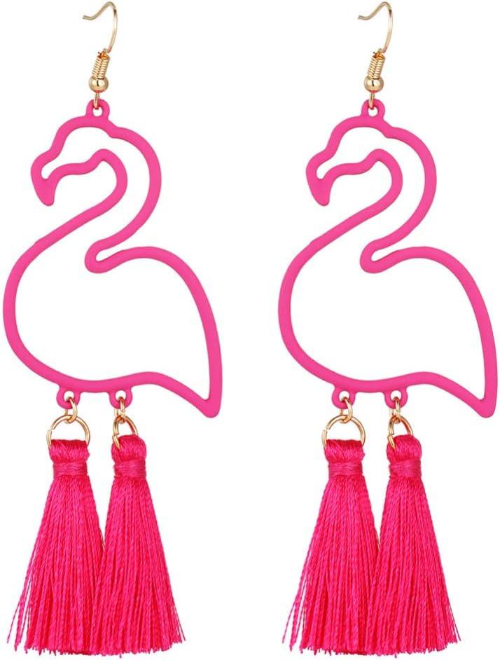 TOYANDONA 1 par de Pendientes Colgantes Pendientes de Tachuelas de Diseño Flamenco Pendientes de Gota de Moda Joyería de Oreja para El Día de La Madre Regalos de Joyería de Cumpleaños (Rosado)
