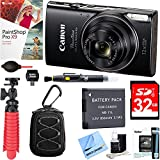 Canon PowerShot ELPH 360 HS Digital Camera (Black) + 32GB Deluxe Accessory Bundle