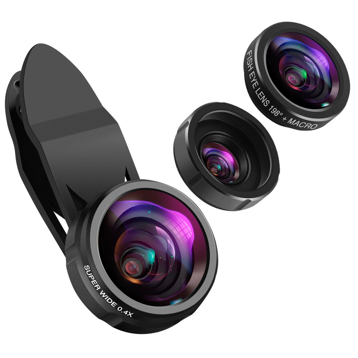 KeeKit Phone Camera Lens, Lens for iPhone, 198° Fisheye Lens + 0.4X Wide Angle Lens + 15X Macro Lens, 3-in-1 Clip on Phone Lens for iPhone X, 8, 8 Plus, 7, 7 Plus, 6S, 6, Samsung & Smartphones