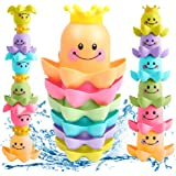 Conquer Baby - Bath Toys for Toddlers Kids Boys Girls | Waterfall Octopus Stacking Cups - BathTub Toys for 1 Year Old & Up - Fun Nesting Sea Ocean Animals for Swimming Pool Beach Sand - 6 Pieces