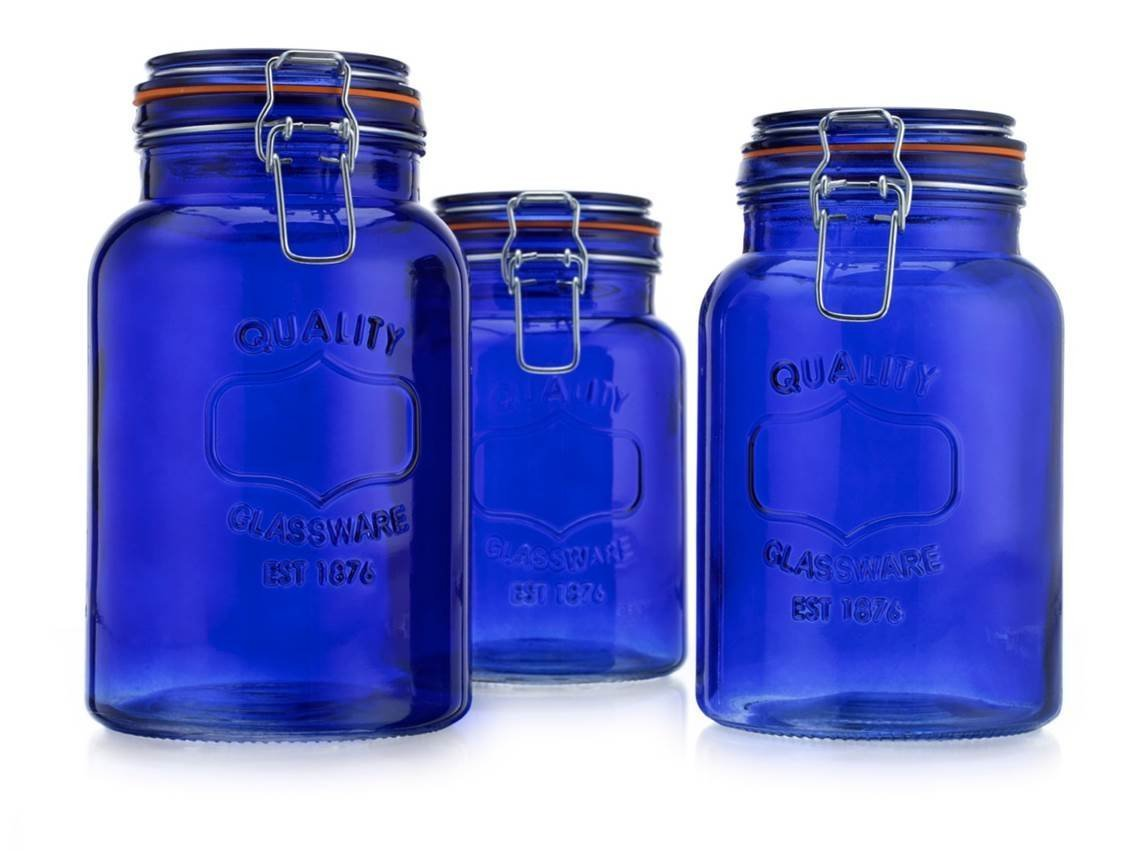 American Reproductions Glass Canister Quality Set of 3 Blue Round Jar with Hermetic Seal Bail & Trigger Airtight Lock for Kitchen - Food Storage Containers HC 3559