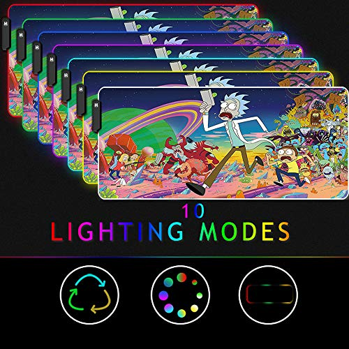 Beyme RGB Gaming Mouse Pad, Large Size (35.4x15.7IN) 10 Light Modes Computer Keyboard Mat & Non-Slip Rubber Base for Gamer, Esports Pros, Office Working (90x40 fgrun015)