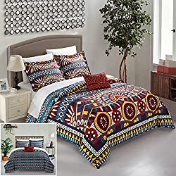 Chic Home 4 Piece Zaiden REVERSIBLE Large Scale global tribal african inspired printed Queen Duvet Set Red