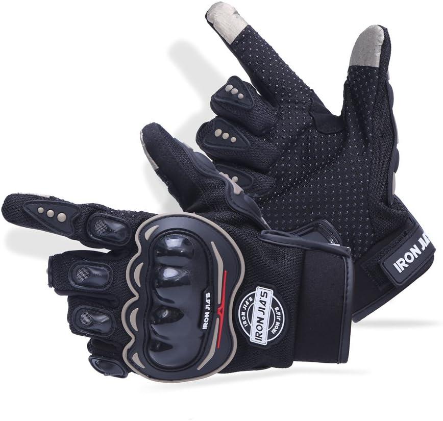 IRON JIA'S Guantes de Motos Motocicleta para Carreras Todo Terreno, Guantes de Moto para Pantallas táctiles Resistentes a caídas (L, Black)