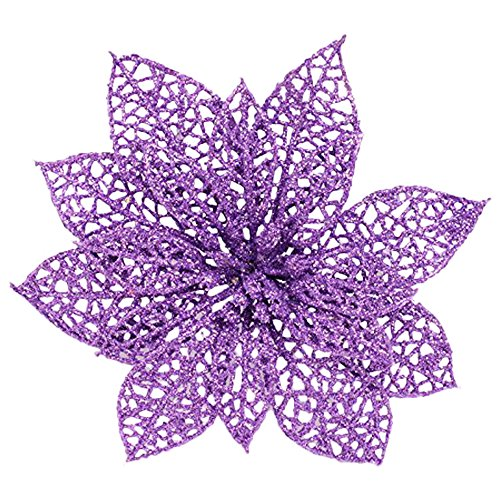 Crazy Night (Pack of 10) Glitter Purple Poinsettia Christmas Tree Ornaments (Purple) (Purple Christmas Ornaments With Tree)