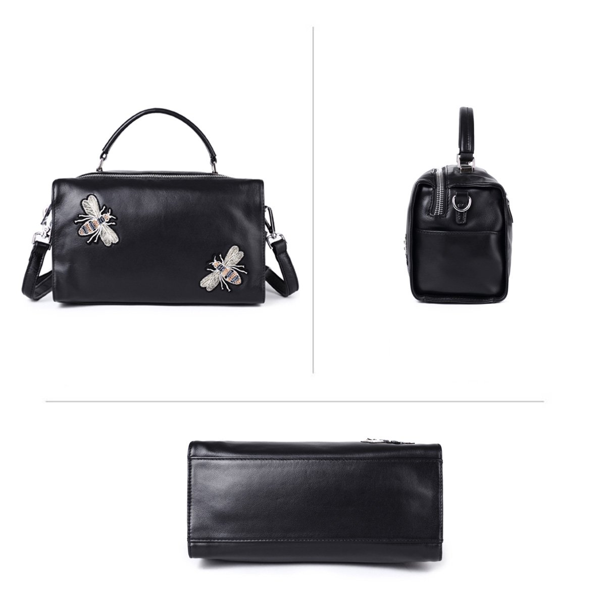 Buy Soft Real Leather Handbags for Women Punk Fashion Shoulder Satchel  Stylish Barrel Purse Black by LEASHELL Online at Low Prices in India -  Amazon.in 977e68065e