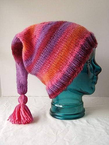 16853455e98 Amazon.com  Tasseled Striped Stocking Cap Handknit Pink Purple Wool Elf Hat  Size L-XL  Handmade