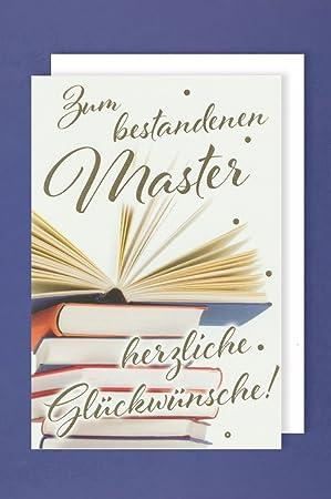Master Grußkarte Karte Herzliche Glückwünsche Bestanden Bücher 16x11cm
