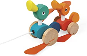 Janod Zigolos Pull Along Duck Family Early Learning and Motor Skills Toy with Flapping Feet Made of Beech and Cherry Wood for Ages 12 Months+