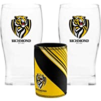 Richmond Tigers AFL Set of 2 Pint Beer Glasses with Neoprene Can Cooler Stubby Holder