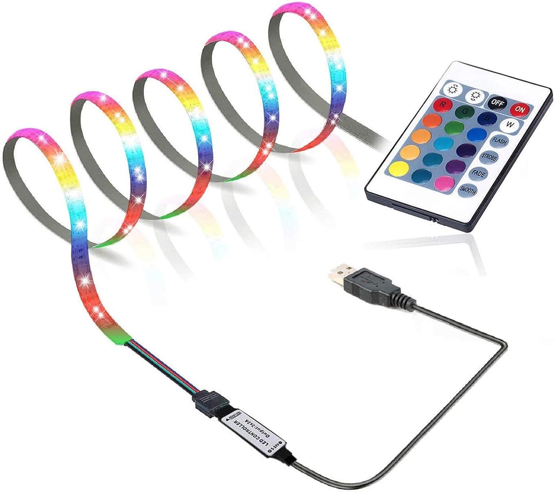 GLEHOME USB Powered,LED Strip Lights with Remote, 3.28ft (1m, 30LEDs) Color Changing 5050 RGB Strip Lights for Monitor TV Bias,badroom Decor,Low Voltage Mood Light Easy Setup DIY Kit 3ft