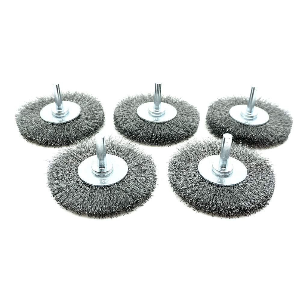3'' Mounted Crimped Wire Wheel - Carbon Steel Wire - 5 Pack by Benchmark Abrasives