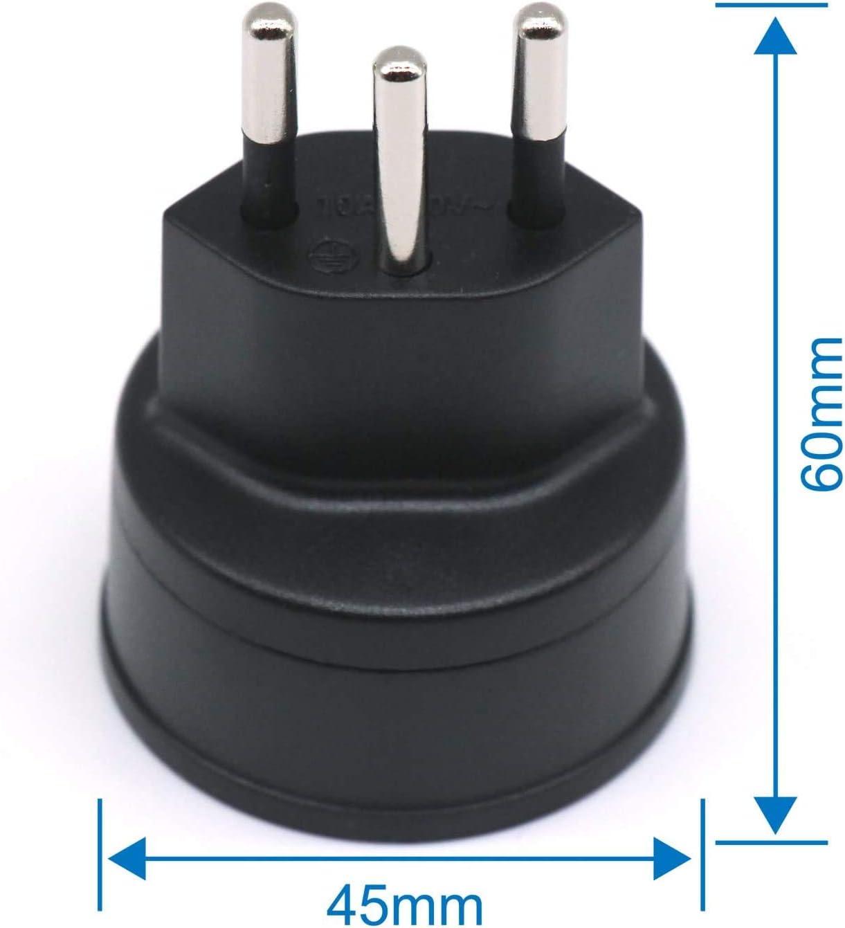 Enchufe Adaptador de UE a Suiza/Liechtenstein, Enchufe de 2 Clavijas de DE/FR/IT/ES a Conector de 3 Clavijas Tipo Suiza para Visitantes de Francia/Alemania (3 Piezas Negra): Amazon.es: Electrónica