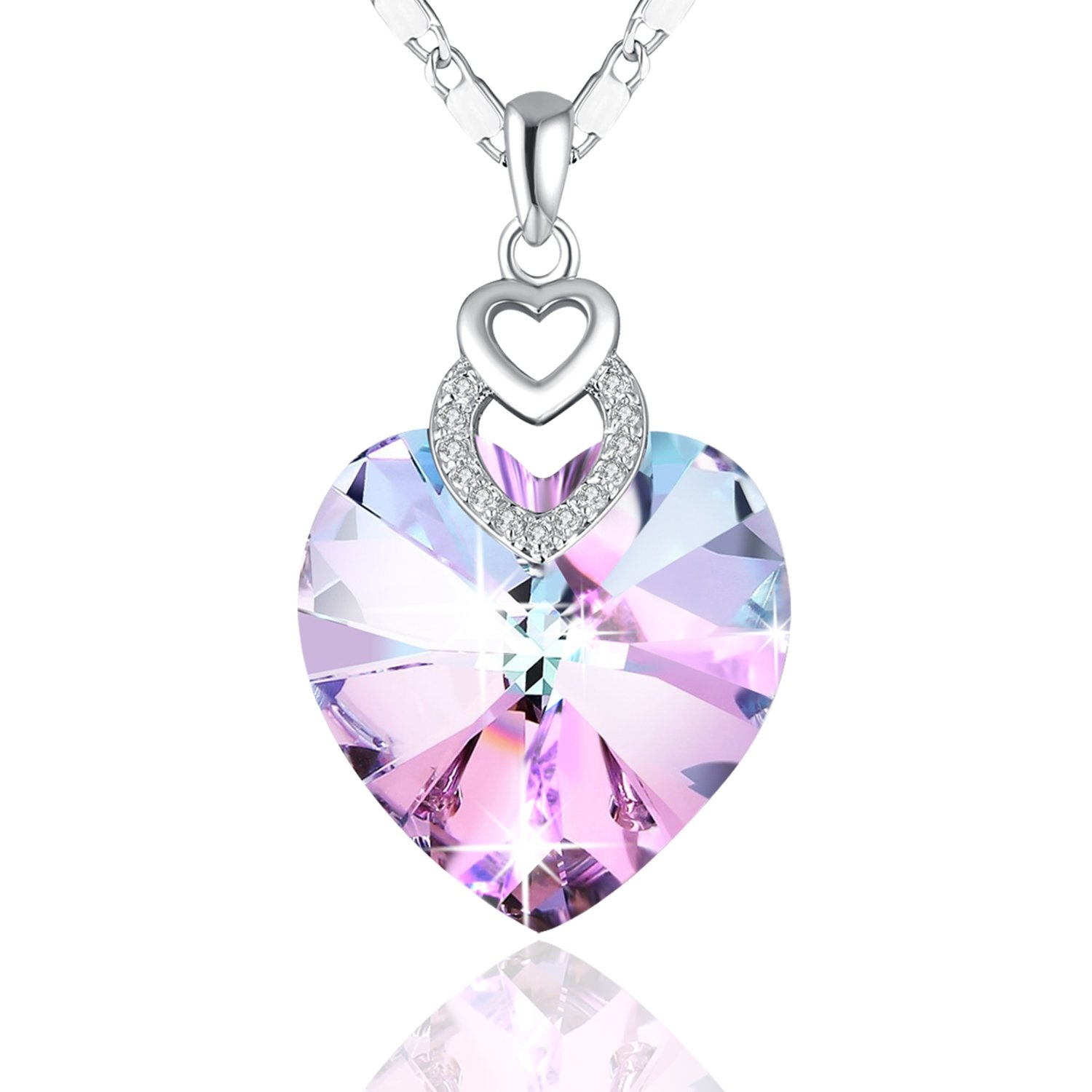 sterling heart fine necklace zirconia susy loving little pendant natural purple amethyst silver jewelry gemstone genuine