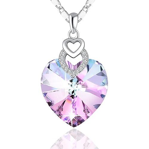 "Heart Necklace PLATO H ""Brave Heart"" Crystal Necklace Heart Shape Necklace Love Heart Neck..."