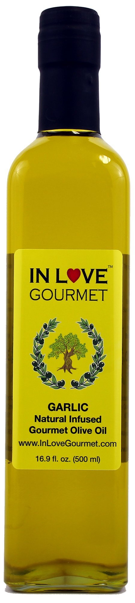 In Love Gourmet Garlic Natural Flavor Infused Gourmet Olive Oil 500ML/16.9oz Great Tossed with Pasta, on Salads, as a Sandwich Spread, for Bread Dipping and in Marinades.