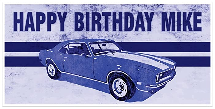 Amazon Com Blue Classic Muscle Car Birthday Banner Personalized
