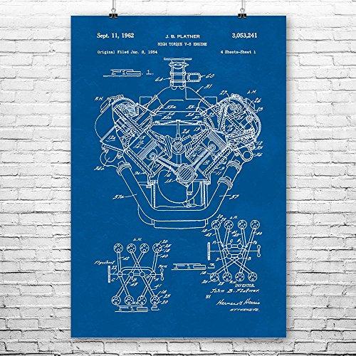 - Patent Earth Chrysler 426 Hemi V8 Engine Poster Print, Mechanic Gift, Car Lover, Gearhead, Repair Shop, Automotive Engineer Blueprint (18
