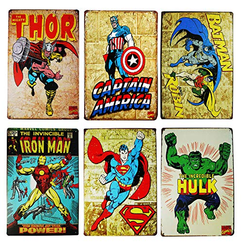 Monifith Vintage Superhero Tin Sign Bundle Hulk,Thor,Superman,American Captain,Iron Man,Batman Marvel Comics Distressed Christmas Retro Vintage Metal Tin Sign Wall Decor 6pcs-8x12inch -