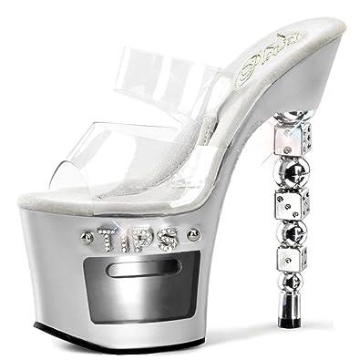 0360d205398b9 Amazon.com | Summitfashions Shiny Silver Tips Heels with Dice Shaped ...