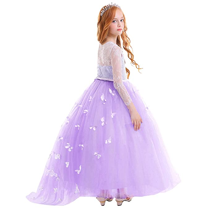 254b45d7df993 Flower Girl Long Tulle Princess Dress Lace Beaded Pageant Kids First  Communion Wedding Formal Prom Maxi Gown