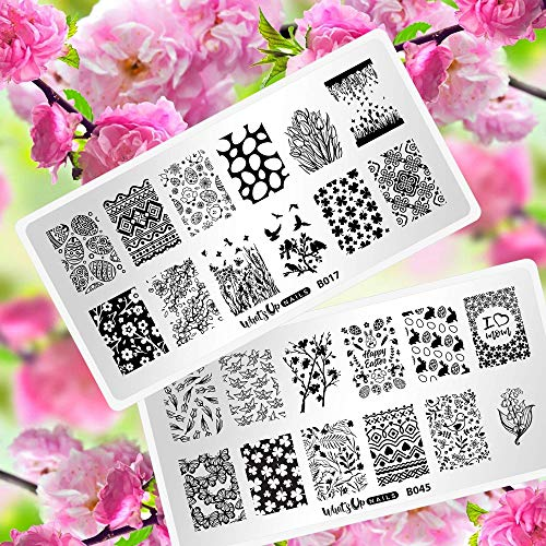(Whats Up Nails - Spring Stamping Plates 2 pack (B017, B045) for Nail Art Design)
