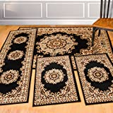 United Weavers of America United Weavers Dallas Collection Floral Kerman 4-Piece Rug Set, Black