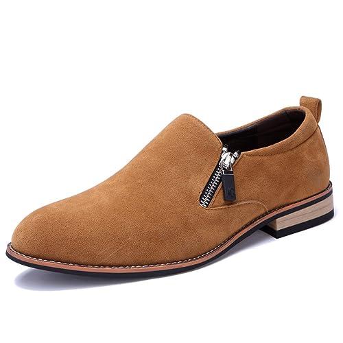 Simple Classic Mocasines Hombre Ante Conducción Zapatos Cremallera Slip on Antideslizantes: Amazon.es: Zapatos y complementos
