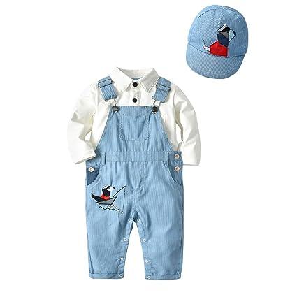 eb234a15e Amazon.com: FeliciaJuan Boy Long-Sleeve Shirts and Pants Playwear Set Boy's  Little Baby 3Pcs Romper Suit Shirts Overalls Outfit Sets (Size : 90): Home  & ...
