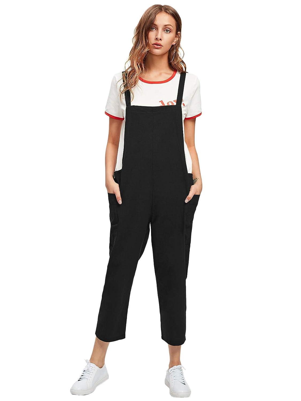 Black1 DIDK Women's Loose Tie Shoulder Pocket Back Plain Cami Jumpsuits