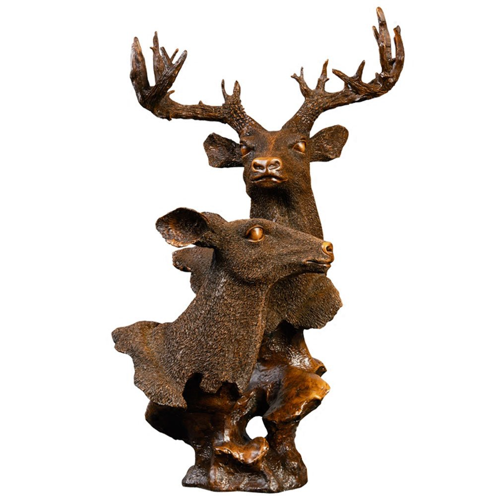 KMYX European Traditional Deer Head Decoration Halloween Christmas Indoor Home Accessories Antique Resin Crafts Collection Study Office Auspicious Furnishing Classic Display