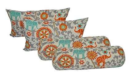 Wondrous Amazon Com Set Of 4 Indoor Outdoor Decorative Bolster Frankydiablos Diy Chair Ideas Frankydiabloscom