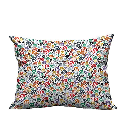 YouXianHome Home DecorCushion Covers Halloween Theme Skulls and Crosss Bathroom Accessories Comfortable and Breathable(Double-Sided Printing) 19.5x26 inch