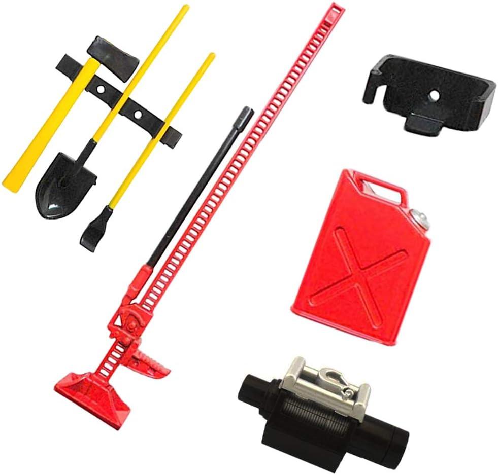 Axe Shovel Jack Pry Bar IFLYRC 1:10 Scale RC Rock Crawler Accessory Decor Set W//Gas Can Winch
