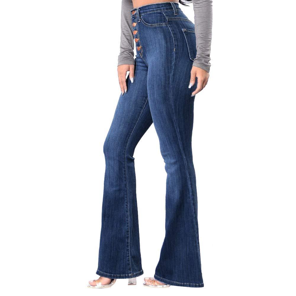LOVELYOU Femme Évasée Pantalon Loose Longues Palazzo Mode Taille Haute Denim Casual Slim Travail Poches Boyfriend Printemps Automne