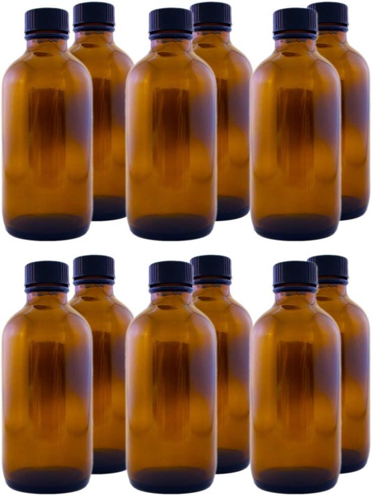 Pack of 12 - 4 oz Amber Glass Boston Round Bottles w/ Black Phenolic Cone Lined Caps