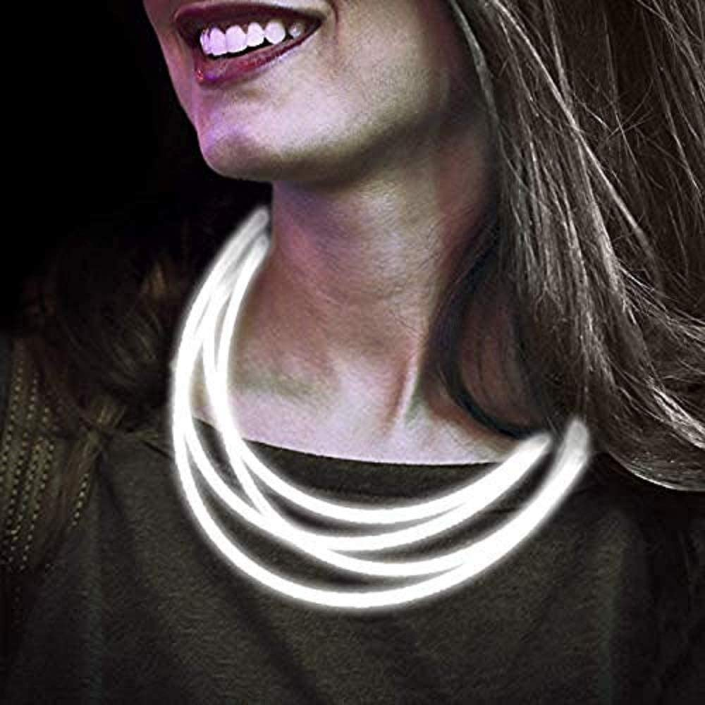 Lumistick 22 Inch Glow Stick Necklaces | Non-Toxic & Kids Safe Light Up Neckwear | Bendable Sticks with Connectors | Glows in The Dark Night Party Favor (White, 200 Necklaces)