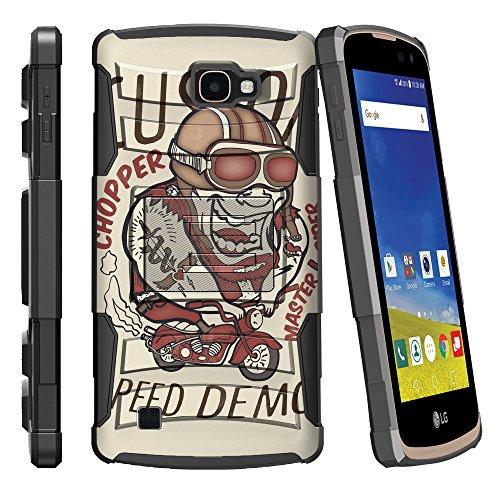 MINITURTLE Case Compatible w/LG K4 Case| Zone 3 Case| LG Spree | Rebel LTE Case Full Body [Clip Armor] Shell Belt Holster Clip Case w/Design - Custom Copper Speed Demon by MINITURTLE