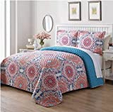 3 Piece Floral Medallion Motif Quilt Set Queen Size, Featuring Reversible Colorful Bohemian Chic Design Bedding, Contemporary Stylish Mexican Tiles Boho Themed Bedroom Decor, Orange, Blue, Multi