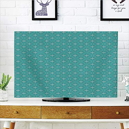 (iPrint LCD TV Cover Multi Style,Turquoise,Moroccan in Geometric Rectangular Frames with Floral Arrangement,Turquoise Dark Blue White,Customizable Design Compatible 70